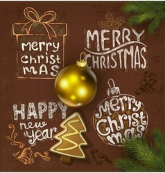 Christmas background on chalkboard vector image