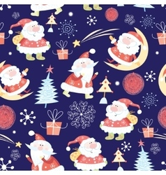 Christmas pattern santas vector