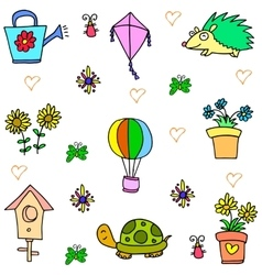 Collection of spring colorful doodles vector