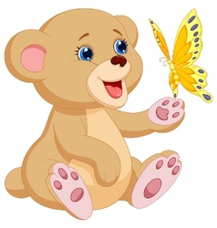 Cute baby bear cartoon playing with butterfly vector image vector image