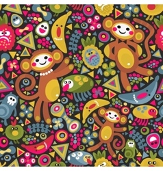 Cute monkey seamless texture colorful vector