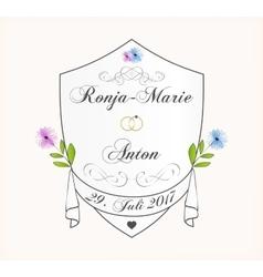 Cute wedding invitation card vector