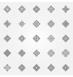 Ethnic geometric icons set vector image vector image
