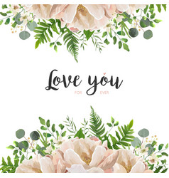 Floral card with peach peony flowers and leaves vector