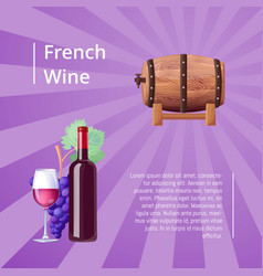 french wine poster with icons vector image vector image