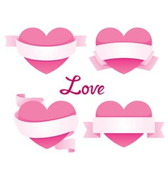 Heart with ribbon banner set vector
