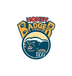 Honey badger mascot claw circle retro vector