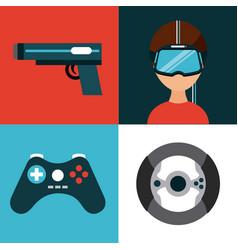Icons set virtual reality vector