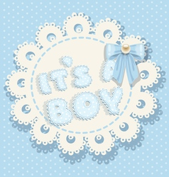 its a boy blue baby shower with blue bow vector image vector image