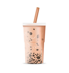 Milk tea plastic glass isolate vector