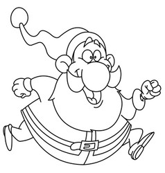 outlined running santa vector image