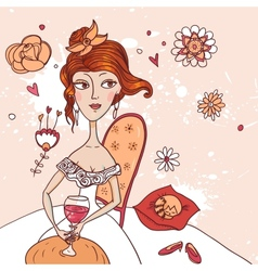 pretty girl with a glass of wine in white dress vector image