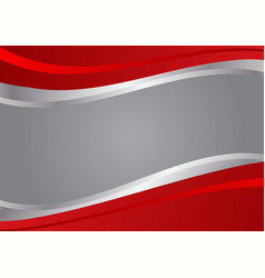Red and silver wave background vector