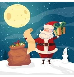 Santa with gift giving list vector