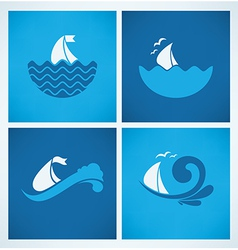 sea emblems vector image vector image