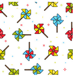 Seamless pattern of colorful child toy windmills vector