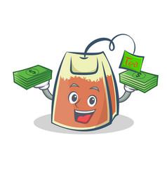 Tea bag character cartoon with money vector