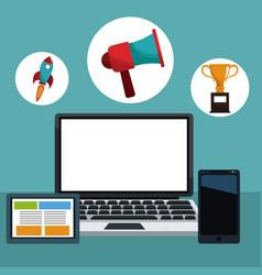 Technology gadgets digital marketing vector