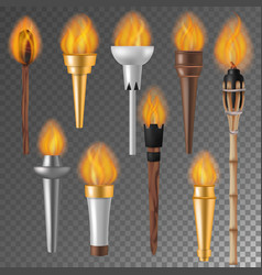 Torch flame flaming torchlight or lighting vector