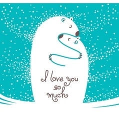 Two polar bears hugging each other Greeting card vector image vector image