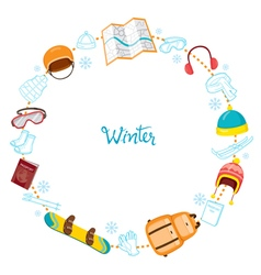 Winter equipment icons on round frame set vector