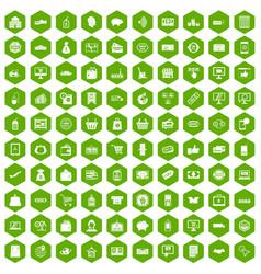 100 shopping icons hexagon green vector
