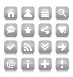 Gray basic sign rounded square icon web button vector