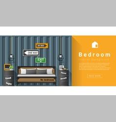 Interior design modern bedroom background 6 vector