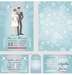 Wedding invitation setbridegroomwinter season vector