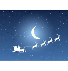 Santa claus in sleigh on a background of the moon vector