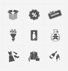 Gift flat black shop icon set on white vector