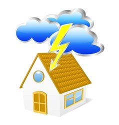 House with clouds and lightning vector