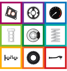 flat parts set of crankshaft belt wheel and vector image