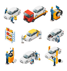 isometric car repair services set vector image