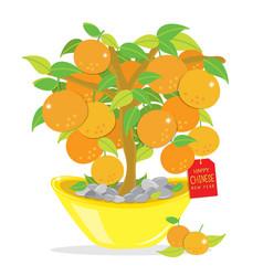 Orange tree happy chinese new year cartoon vector