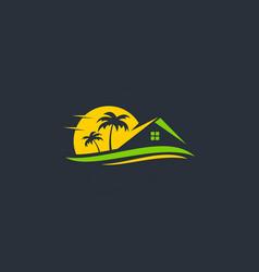 resort beach house travel logo vector image