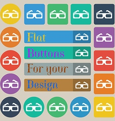3d glasses icon sign Set of twenty colored flat vector image
