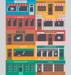 Front shop facade set vector