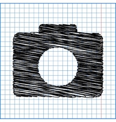 Camera icon with pen effect on paper vector
