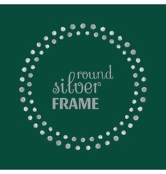 Round silver frame with dots vector