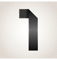 Number metal ribbon - 1 - one vector