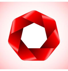 Abstract red polygon icon vector image