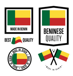 benin quality label set for goods vector image