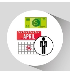 Business man planning taxes money icon design vector