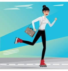 Business woman rides on roller skates vector