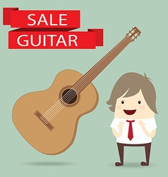businessman is happy with guitar on sale vector image