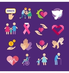 Charity flat icons set vector