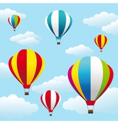 colorful air balloons on the blue sky vector image vector image