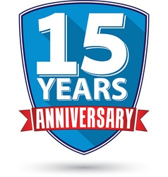 Flat design 15 years anniversary label with red vector