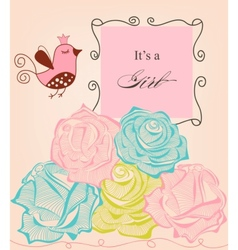 Floral baby girl shower roses and cute bird vector image vector image
